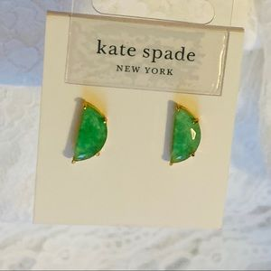 NEW ♠️ KS NY Green Stone Half Moon Stud Earrings